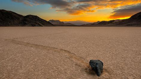 The traveling rocks at the Racetrack in Death Valley National Park have perplexed scientists and visitors for decades