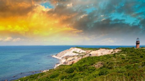 Gay Head Lighthouse located on top of the Aquinnah Cliffs in Martha's Vineyard