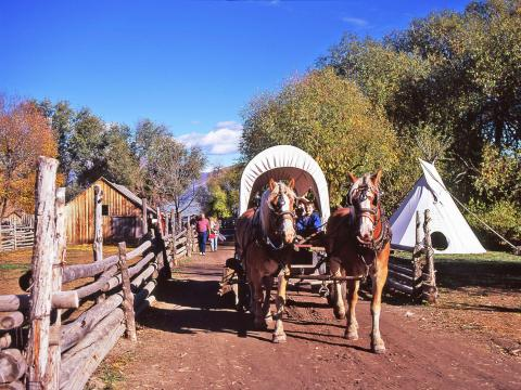 Wagon rides during the Fall Harvest Festival at the American West Heritage Center