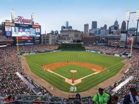 到市中心的聯信球場觀賞底特律老虎隊的比賽