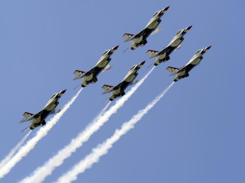 Planes soaring through the sky at the Duluth Air Show in Minnesota
